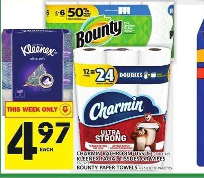 Charmin Bathroom Tissue Kleenex or Facial Tissues Or Wipes or Bounty Paper Towels