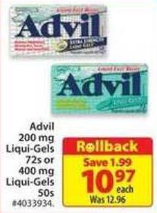 Advil Liqui-gels 72s or 400 Mg Liqui-gels 50s