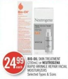 Bio-oil Skin Treatment (200ml) or Neutrogena Rapid Wrinkle Repair Facial Moisturizers