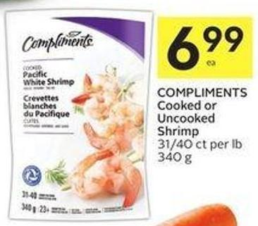 Compliments Cooked or Uncooked Shrimp 31/40 Ct Per Lb 340 g
