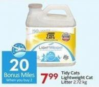 Tidy Cats Lightweight Cat Litter 2.72 Kg - 20 Air Miles Bonus Miles