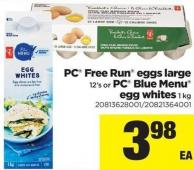 PC Free Run Eggs Large - 12's Or PC Blue Menu Egg Whites - 1 Kg