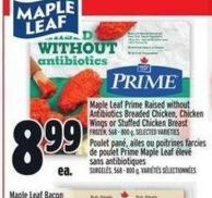 Maple Leaf Prime Raised Without Antibiotics Breaded Chicken - Chicken Wings Or Stuffed Chicken Breast | Poulet Pané - Ailes Ou Poitrines Farcies De Poulet Prime Maple Leaf ÉLevé Sans Antibiotiques