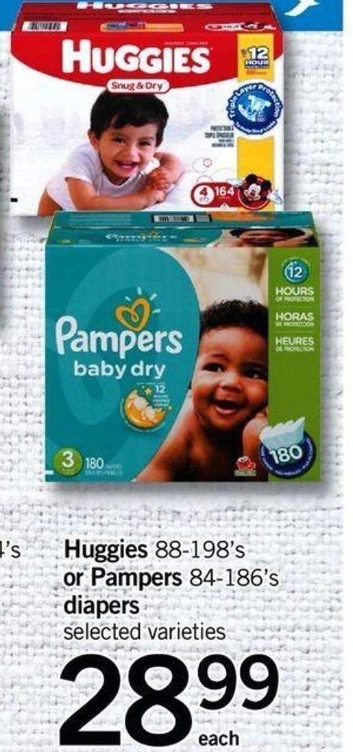 Huggies - 88-198's Or Pampers - 84-186's Diapers