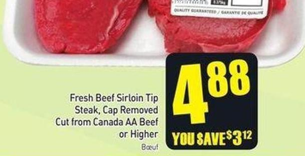 Fresh Beef Sirloin Tip Steak - Cap Removed Cut From Canada Aa or Higher