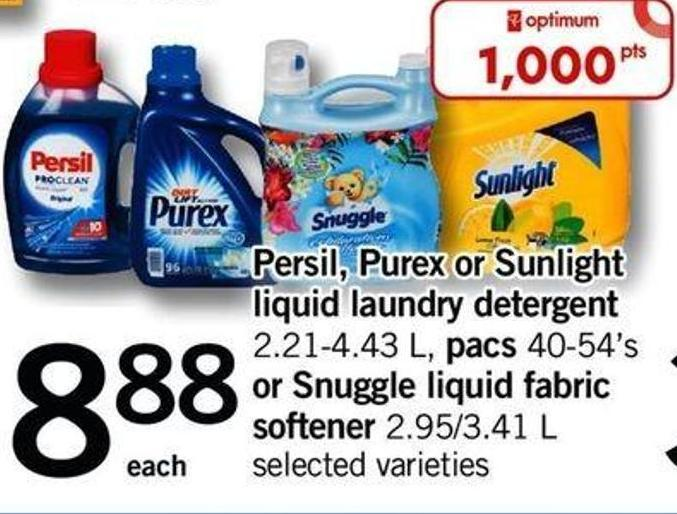 Persil - Purex Or Sunlight Liquid Laundry Detergent 2.21-4.43 L - Pacs 40-54's Or Snuggle Liquid Fabric Softener 2.95/3.41 L