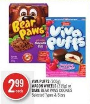 Viva Puffs (300g) - Wagon Wheels (315g) or Dare Bear Paws Cookies