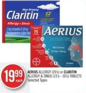 Aerius Allergy (20's) or Claritin Allergy & Sinus (15's - 30's) Tablets