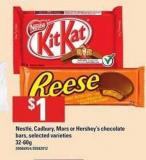 Nestlé - Cadbury - Mars Or Hershey's Chocolate Bars - 32-60g