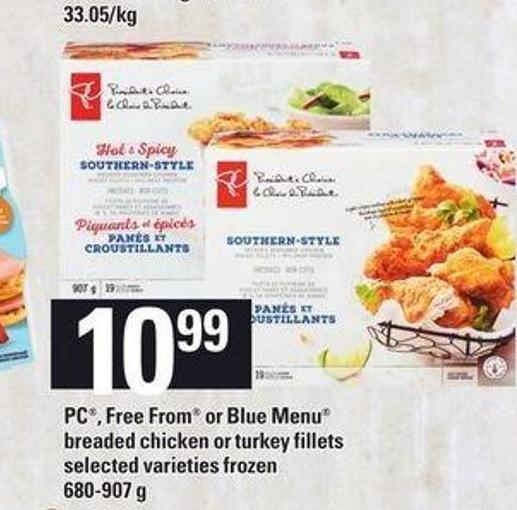 PC - Free From Or Blue Menu Breaded Chicken Or Turkey Fillets - 680-907 G