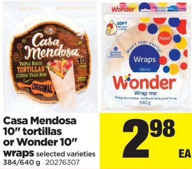 Casa Mendosa 10in Tortillas Or Wonder 10in Wraps - 384/640 g