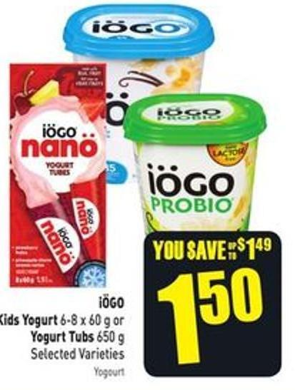 Kids Yogurt 6-8 X 60 g or Yogurt Tubs 650 g Selected Varieties