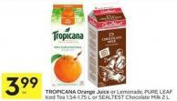 Tropicana Orange Juice or Lemonade - Pure Leaf Iced Tea 1.54-1.75 L or Sealtest Chocolate Milk 2 L