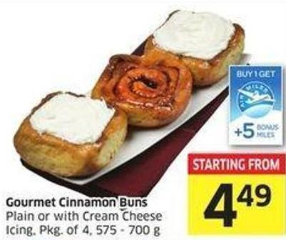 Gourmet Cinnamon Buns Plain or With Cream Cheese Icing - Pkg of 4 - 575 - 700 g -5 Air Miles Bonus Miles
