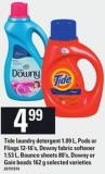 Tide Laundry Detergent 1.09 L - PODS Or Flings! 12-16's - Downy Fabric Softener 1.53 L - Bounce Sheets 80's - Downy Or Gain Beads 162 G