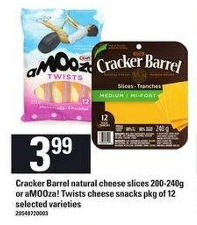 Cracker Barrel Natural Cheese Slices - 200/240g Or Amooza Twists Cheese Snacks - Pkg Of 12