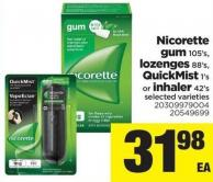 Nicorette GUM 105's - Lozenges 88's - Quickmist - 1's Or Inhaler - 42's