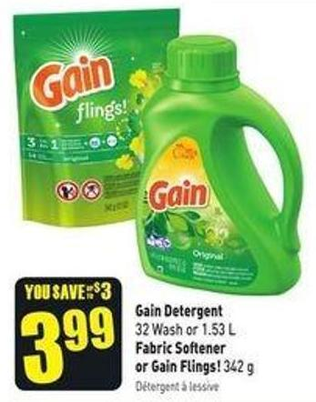 Gain Detergent 32 Wash or 1.53 L Fabric Softener or Gain Flings! 342 g