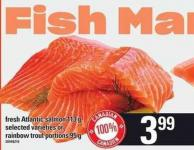 Fresh Atlantic Salmon - 113 G Or Rainbow Trout Portions - 95 G