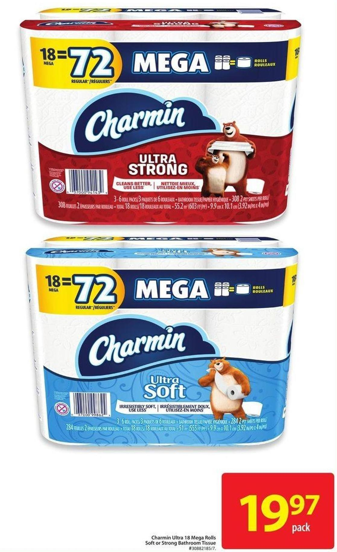 Charmin Ultra 18 Mega Rolls Soft or Strong Bathroom Tissue