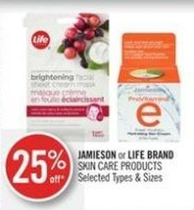 Jamieson or Life Brand Skin Care Products