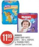 Huggies Jumbo Baby Wipes - Diapers or Training Pants (288's - 384's)