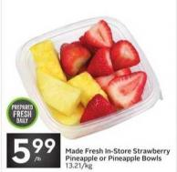 Made Fresh In-store Strawberry Pineapple or Pineapple Bowls