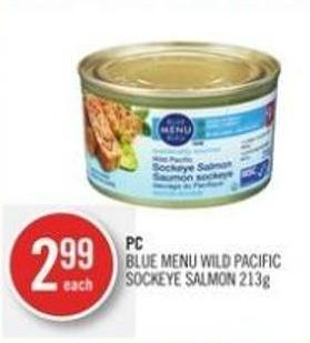 PC Blue Menu Wild Pacific Sockeye Salmon 213g