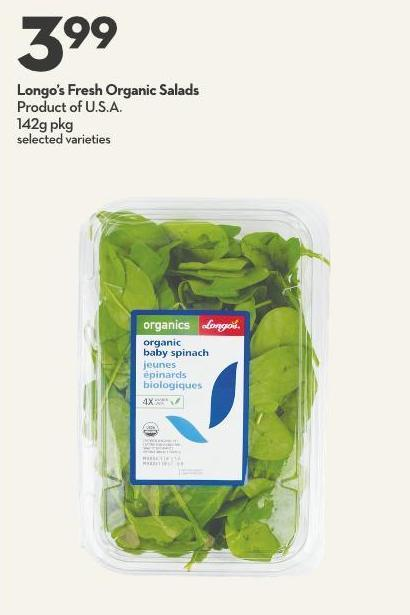 Longo's Fresh Organic Salads Product of U.S.A. 142g Pkg