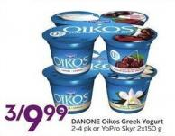 Danone Oikos Greek Yogurt 2-4 Pk or Yopro Skyr 2x150 g