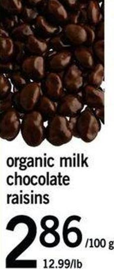 Organic Milk Chocolate Raisins