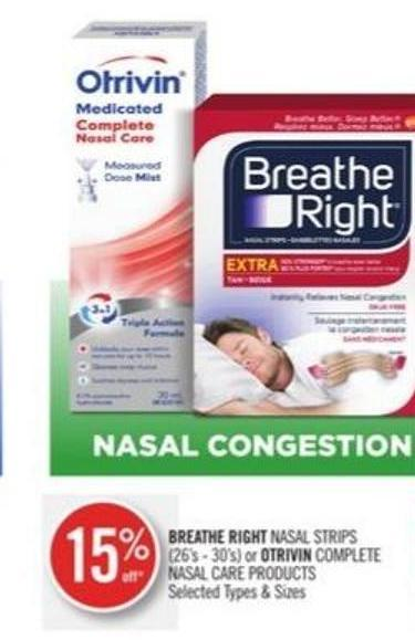 Breathe Right Nasal Strips (26's - 30's) or Otrivin Complete Nasal Care Products