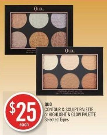Quo Contour & Sculpt Palette or Highlight & Glow Palette