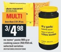 No Name Pasta 900 g Or Cooking Sauce 350/450 mL