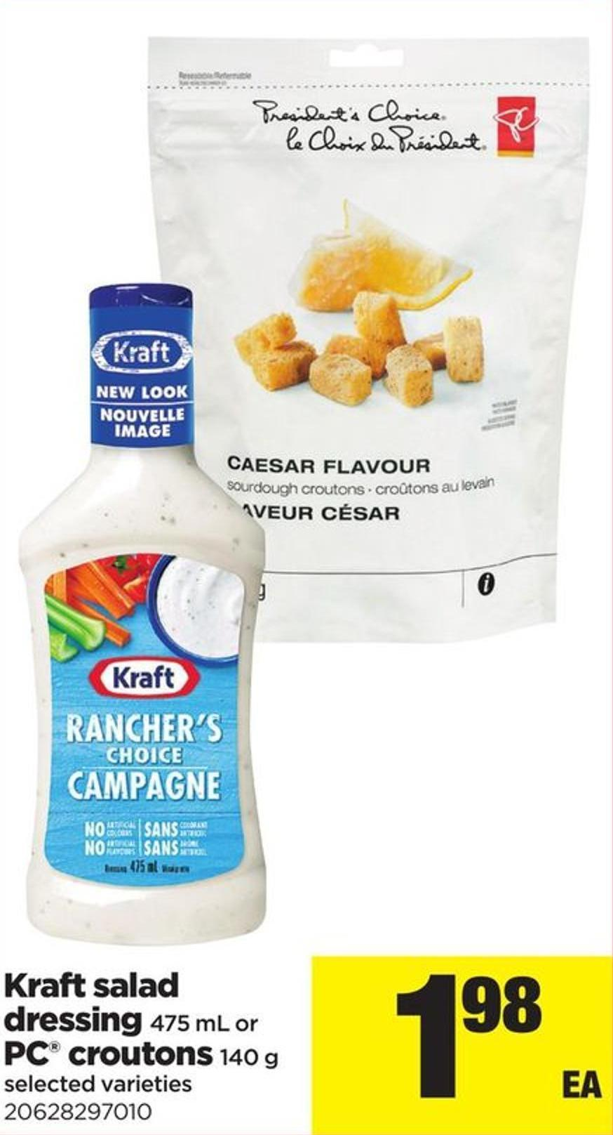 Kraft Salad Dressing - 475 Ml Or PC Croutons - 140 G