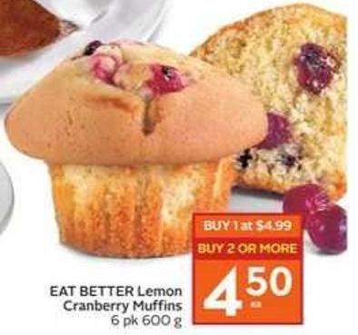 Eat Better Lemon Cranberry Muffins