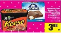 Breyers Frozen Dessert - 1.66 L Or Nestlé Novelities - 4-10's Or Klondike Novelties - 4/6's
