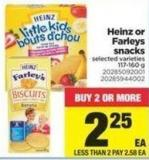 Heinz Or Farleys Snacks - 117-160 g