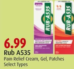 Rub A535 Pain Relief Cream - Gel - Patches