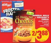 General Mills or Kellogg's Cereal - 210-331 g