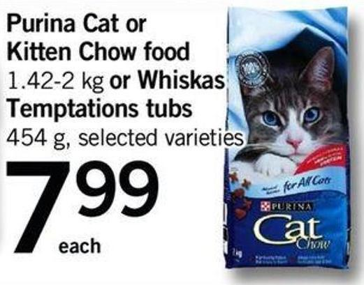 Purina Cat Or Kitten Chow Food - 1.42-2 Kg Or Whiskas Temptations Tubs - 454 G