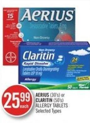 Aerius (30's) or Claritin (50's) Allergy Tablets