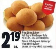 Front Street Bakery Hot Dog Or Hamburger Rolls Pkg Of 8 - 375 - 475 g