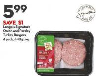 Longo's Signature  Onion and Parsley  Turkey Burgers 4 Pack - 448g Pkg