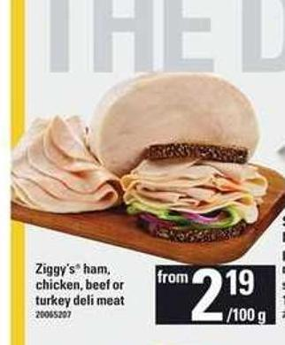 Ziggy's Ham - Chicken - Beef Or Turkey Deli Meat