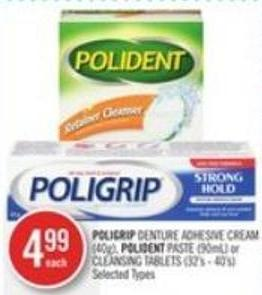 Poligrip Denture Adhesive Cream (40g) - Polident Paste (90ml) or Cleansing Tablets (32's - 40's)