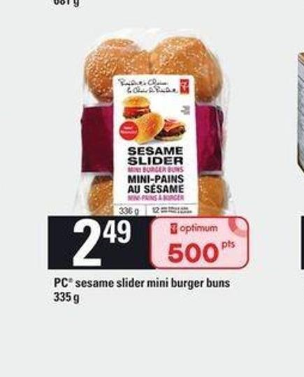 PC Sesame Slider Mini Burger Buns - 335 g