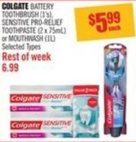 Colgate Battery Toothbrush (1's) - Sensitive Pro-relief Toothpaste (2 X 75ml) or Mouthwash (1l)