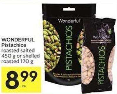 Wonderful Pistachios Roasted Salted 450 g or Shelled Roasted 170 g