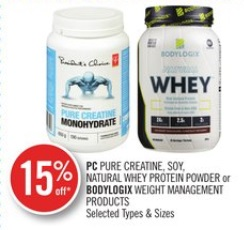 PC PURE CREATINE, SOY, NATURAL WHEY PROTEIN POWDER or BODYLOGIX WEIGHT MANAGEMENT PRODUCTS